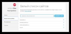белый список сайтов adblock plus